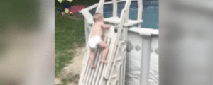 Dad's viral video of toddler climbing up pool ladder is a warning to parents about pool safety