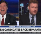 Tucker Carlson laughs along with guest after he suggests black people need to move on from slavery
